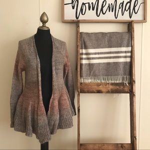 Anthro Knitted and Knotted Open Brown Cardigan